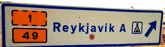 road sign pointing to Reykjavik