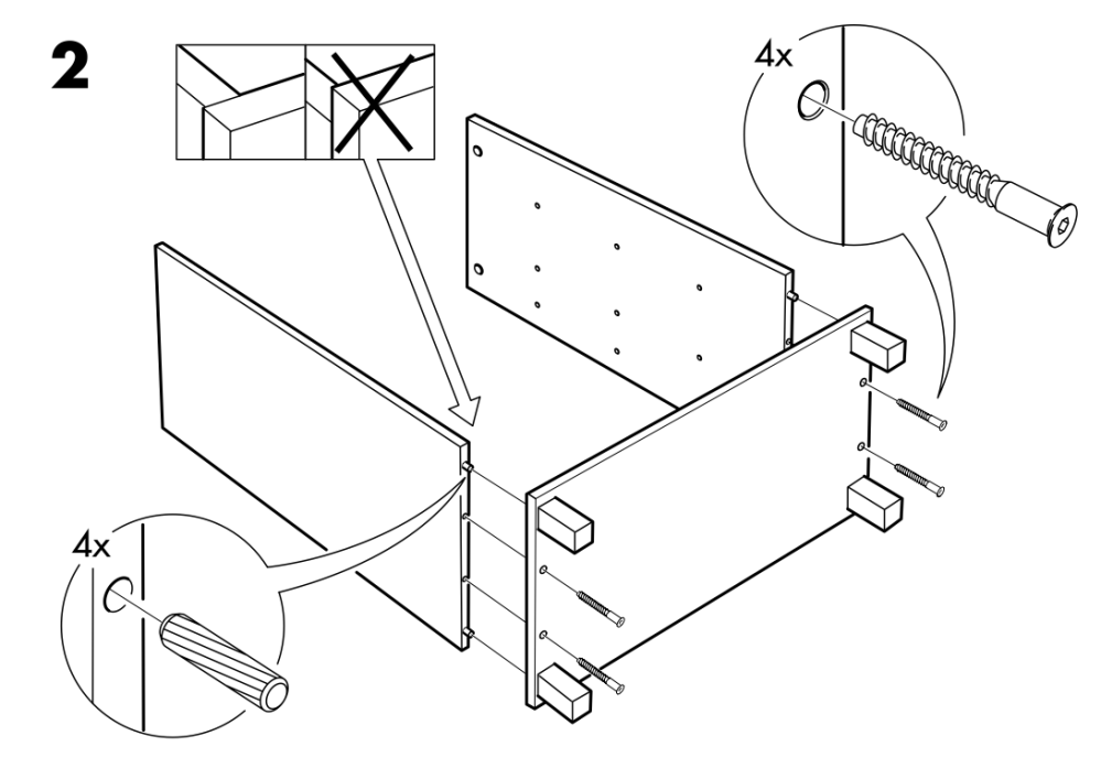 assembly diagram for a piece of IKEA furniture