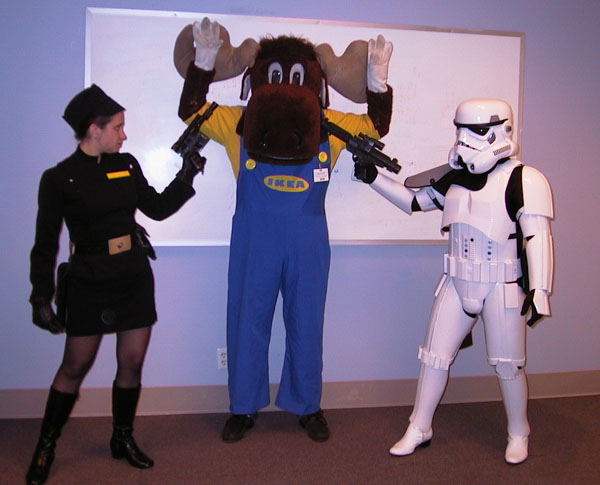 Star Wars characters holding IKEA moose at gunpoint