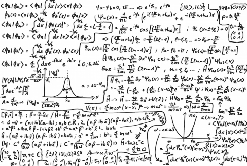 densely packed handwritten quantum physics equations