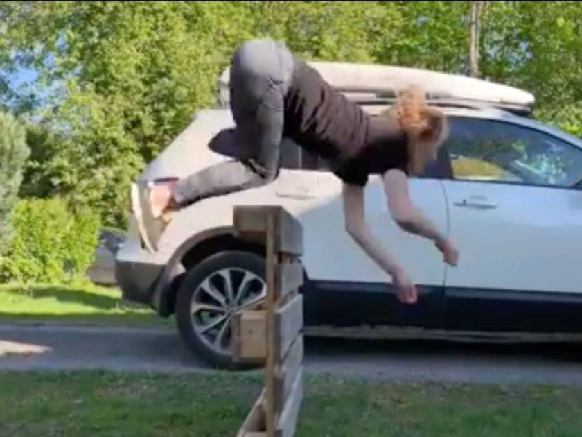 girl jumping like a horse