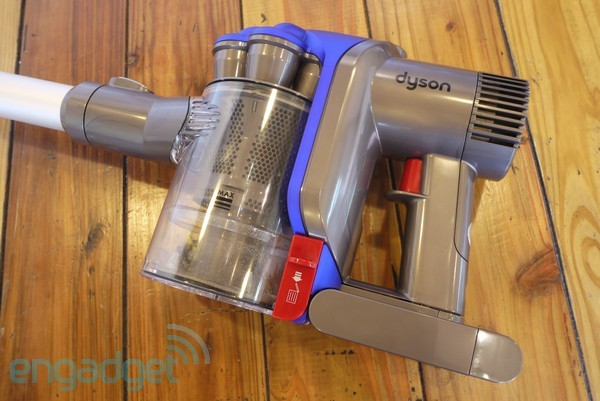 close up view of a Dyson DC35 handheld vaccum